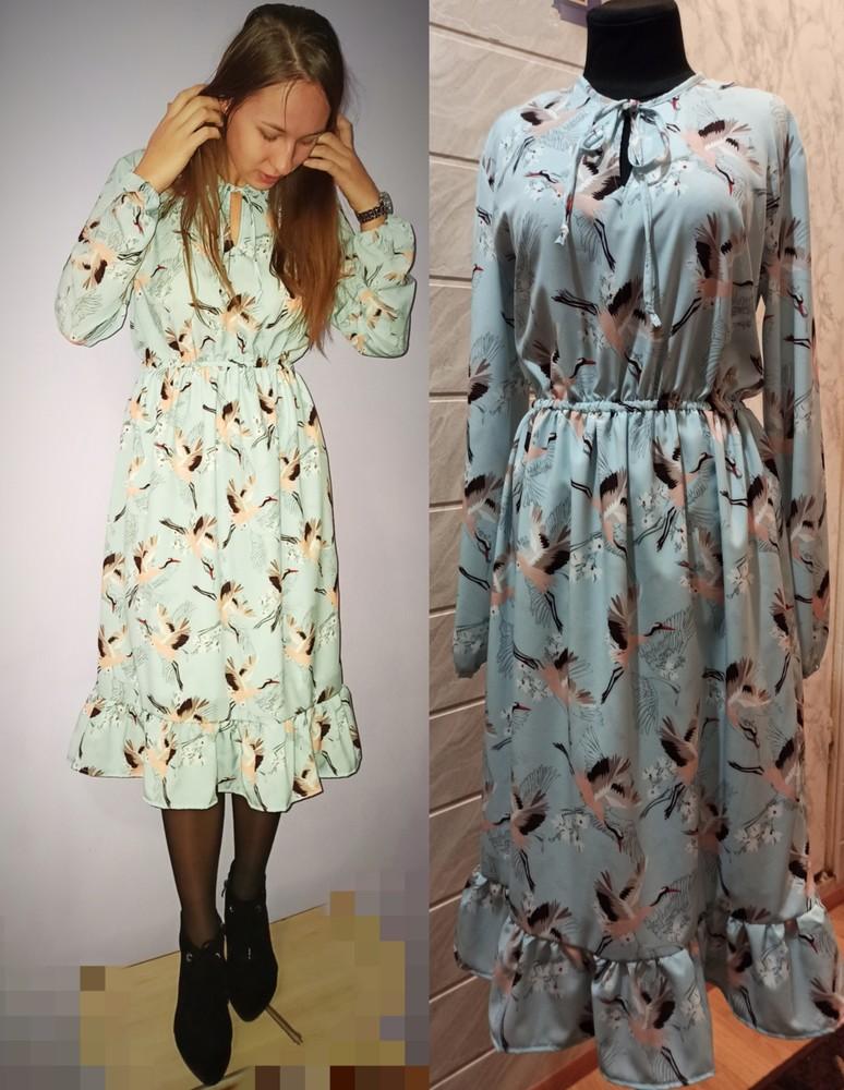 Міді плаття в принт журавлі.фото реальне!!! фото №1