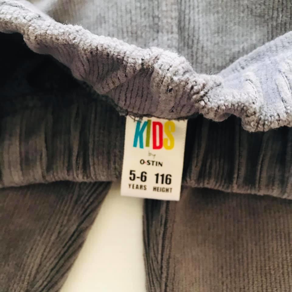 Скини o´stin вельветовые штаны лосины цвет графит р110-116 фото №4