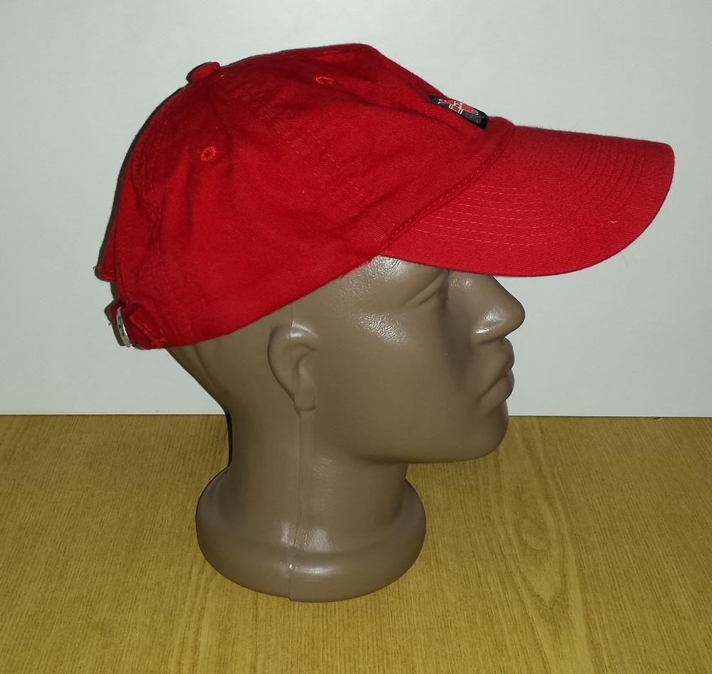 Одежда головной убор кепка бейсболка красная яркая обхват головы 57 см хлопок коттон фото №2