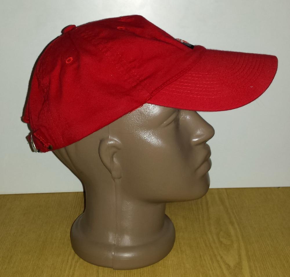Одежда головной убор кепка бейсболка красная яркая обхват головы 57 см хлопок коттон фото №3