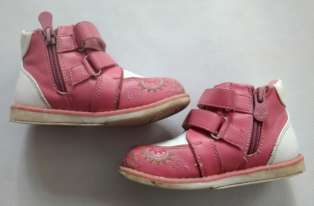 Кожаные розовые ботинки шалунишка ортопед р. 25 фото №6