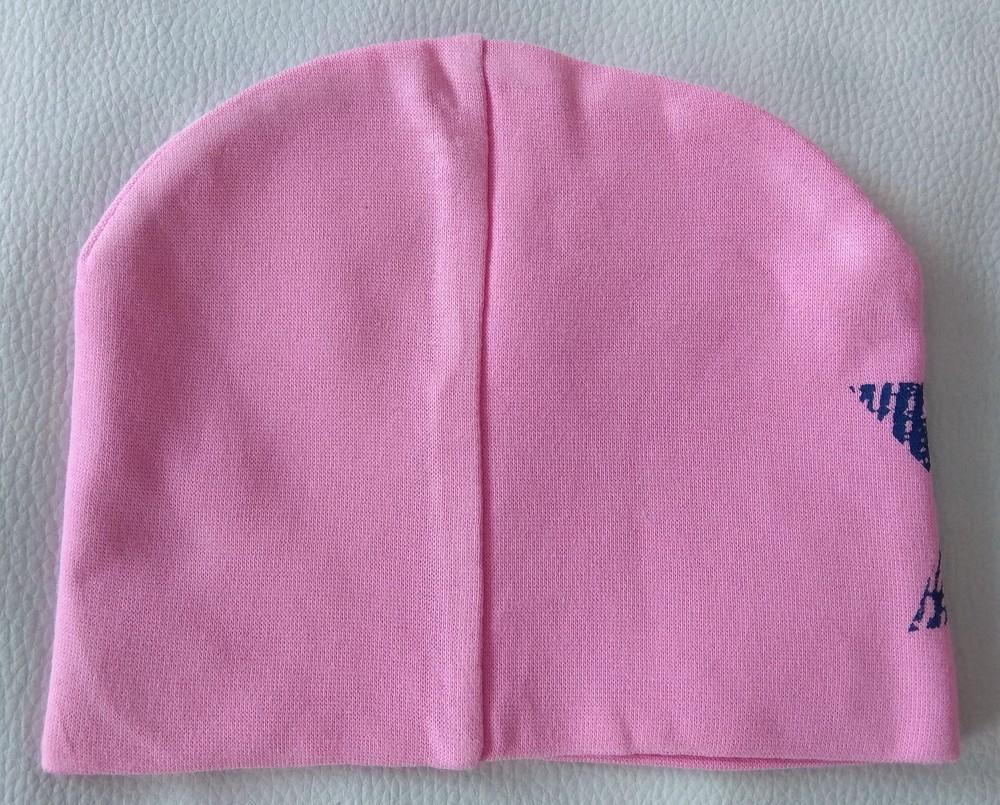 Розовая трикотажная шапка со звездой р. 47-48 фото №2