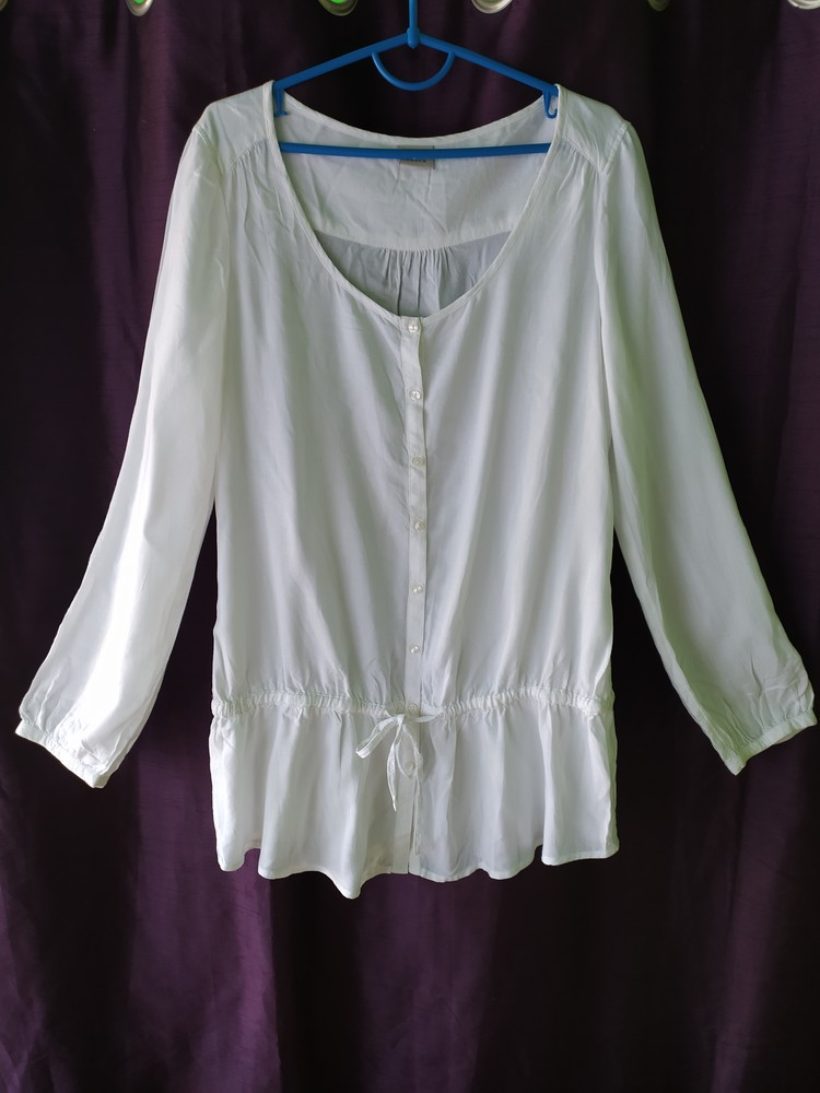 Esprit великолепная белая блуза туника, р.36, s-ка фото №2