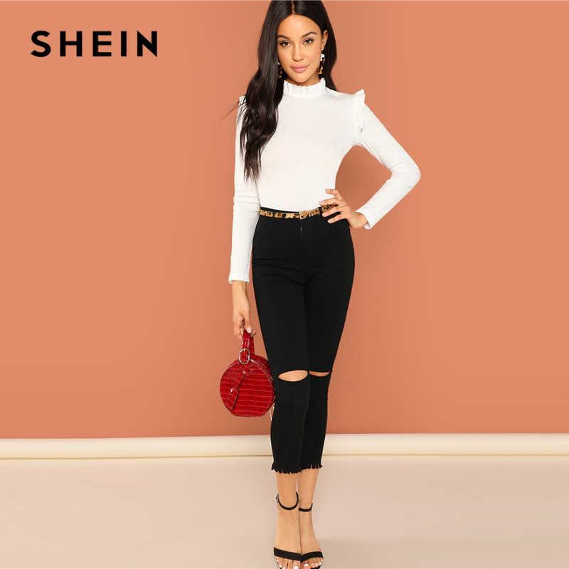 Shein трикотажный лонгслив реглан блуза с оборкой, s-m фото №3