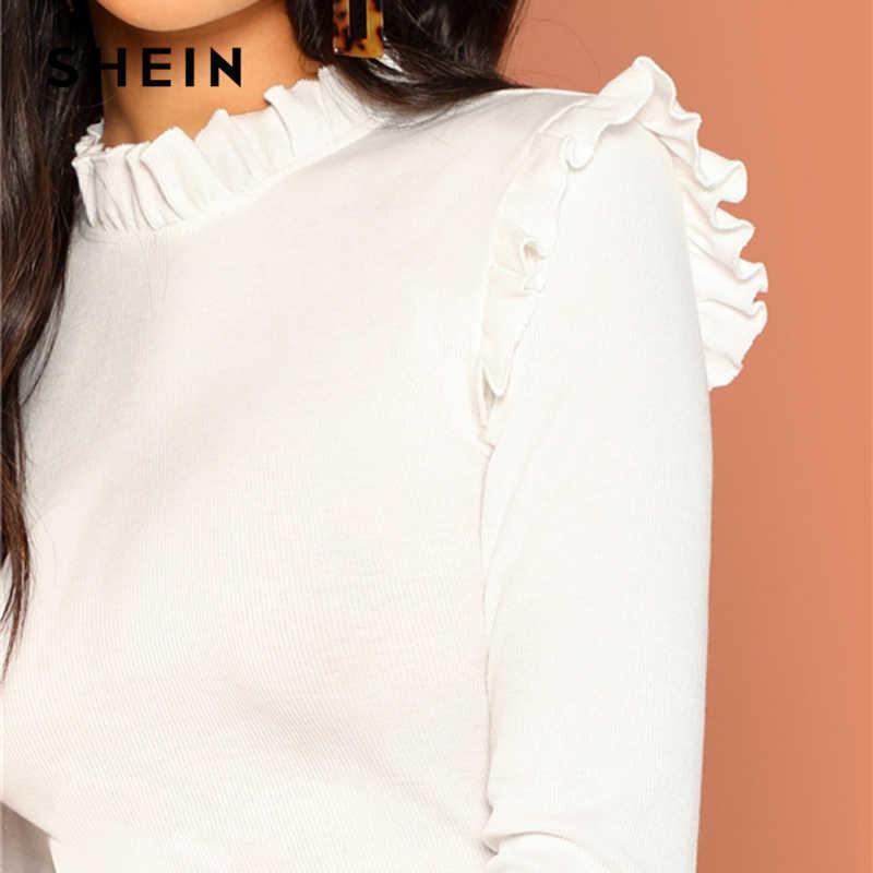 Shein трикотажный лонгслив реглан блуза с оборкой, s-m фото №5