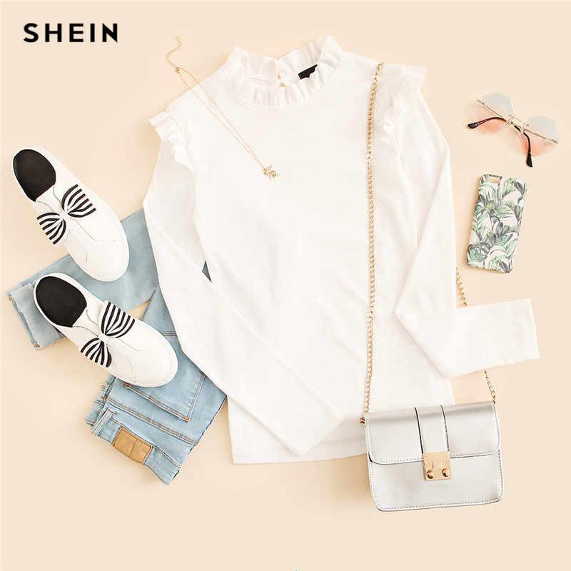 Shein трикотажный лонгслив реглан блуза с оборкой, s-m фото №6