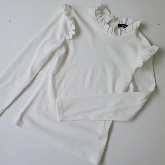 Shein трикотажный лонгслив реглан блуза с оборкой, s-m фото №7