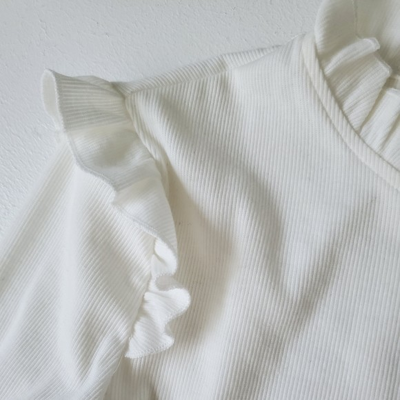 Shein трикотажный лонгслив реглан блуза с оборкой, s-m фото №8