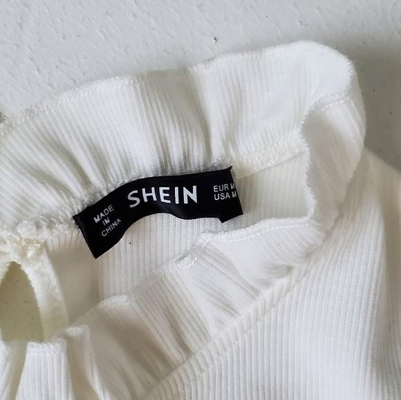 Shein трикотажный лонгслив реглан блуза с оборкой, s-m фото №9