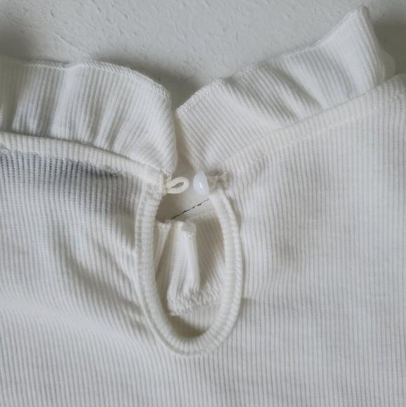 Shein трикотажный лонгслив реглан блуза с оборкой, s-m фото №10