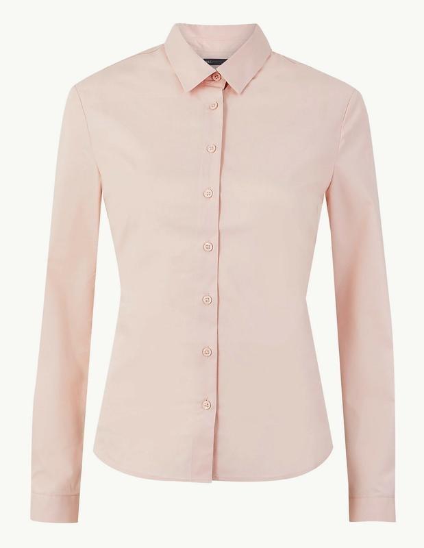 M&s нежно-розовая пудровая хлопковая блуза рубашка, р.24-52 фото №1