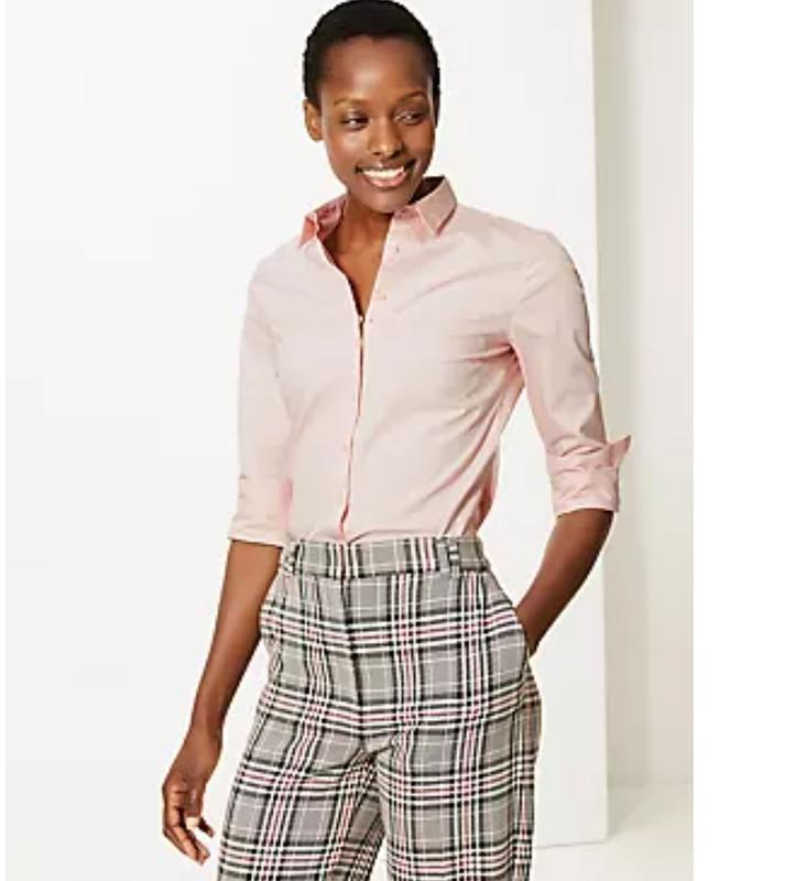 M&s нежно-розовая пудровая хлопковая блуза рубашка, р.24-52 фото №2