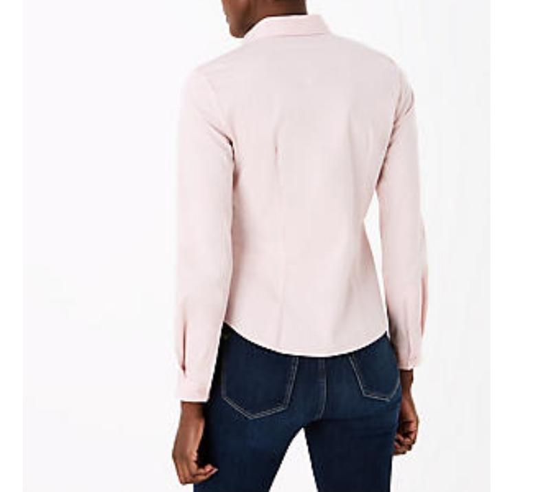 M&s нежно-розовая пудровая хлопковая блуза рубашка, р.24-52 фото №4