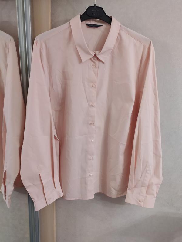 M&s нежно-розовая пудровая хлопковая блуза рубашка, р.24-52 фото №5