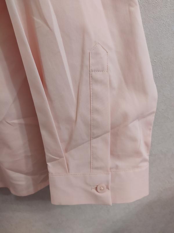 M&s нежно-розовая пудровая хлопковая блуза рубашка, р.24-52 фото №6