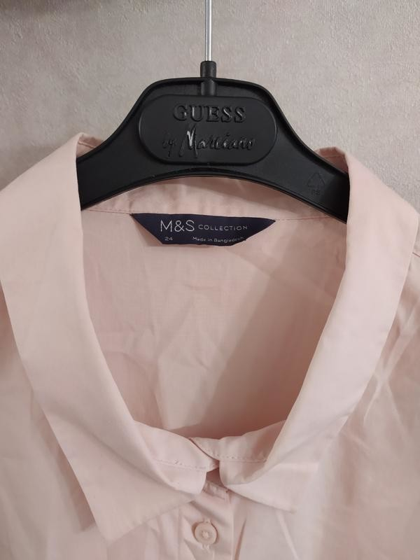 M&s нежно-розовая пудровая хлопковая блуза рубашка, р.24-52 фото №7