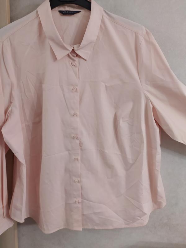 M&s нежно-розовая пудровая хлопковая блуза рубашка, р.24-52 фото №8