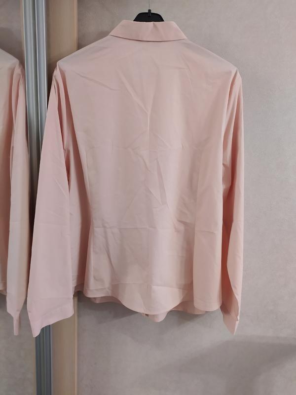 M&s нежно-розовая пудровая хлопковая блуза рубашка, р.24-52 фото №9