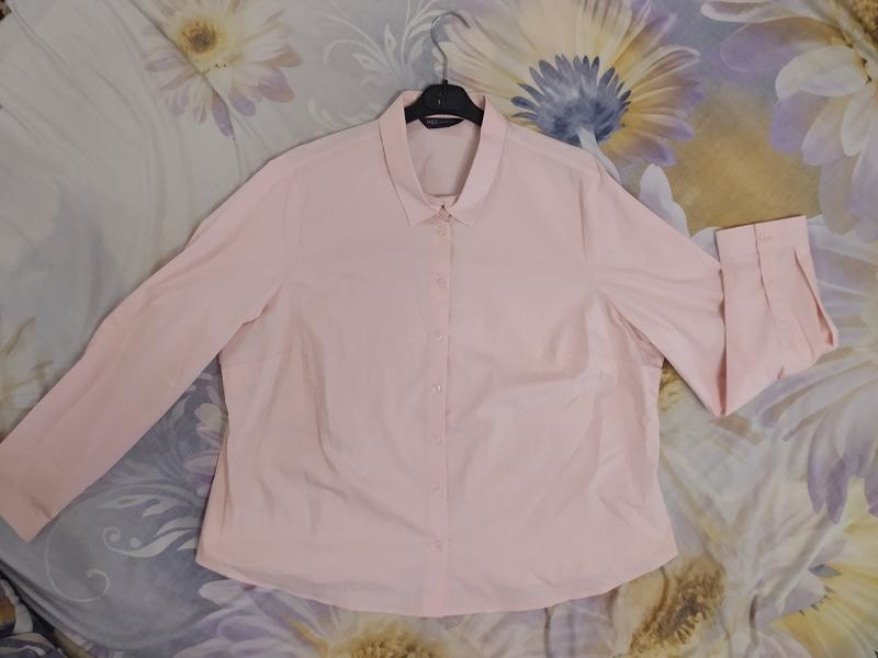 M&s нежно-розовая пудровая хлопковая блуза рубашка, р.24-52 фото №10
