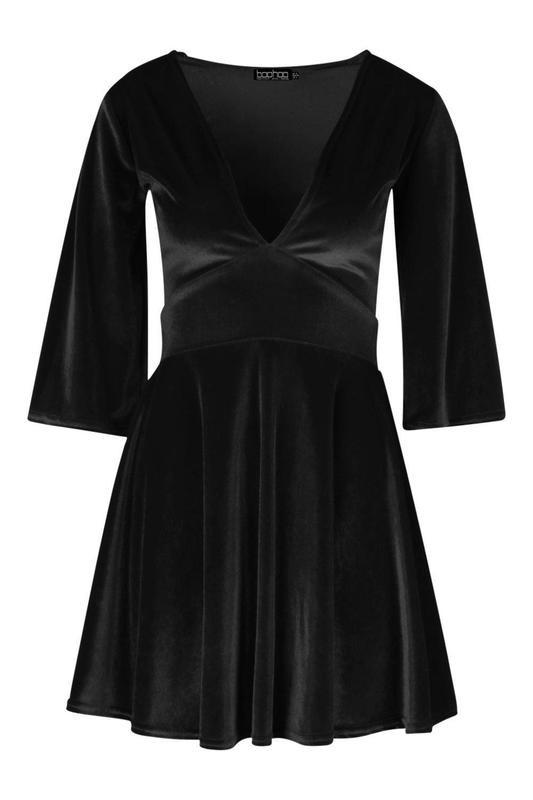 Boohoo бархатное велюровое платье с глубоким декольте, р.12-40 фото №3